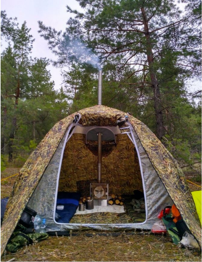 Hunting Outfitter Tent with Wood Stove